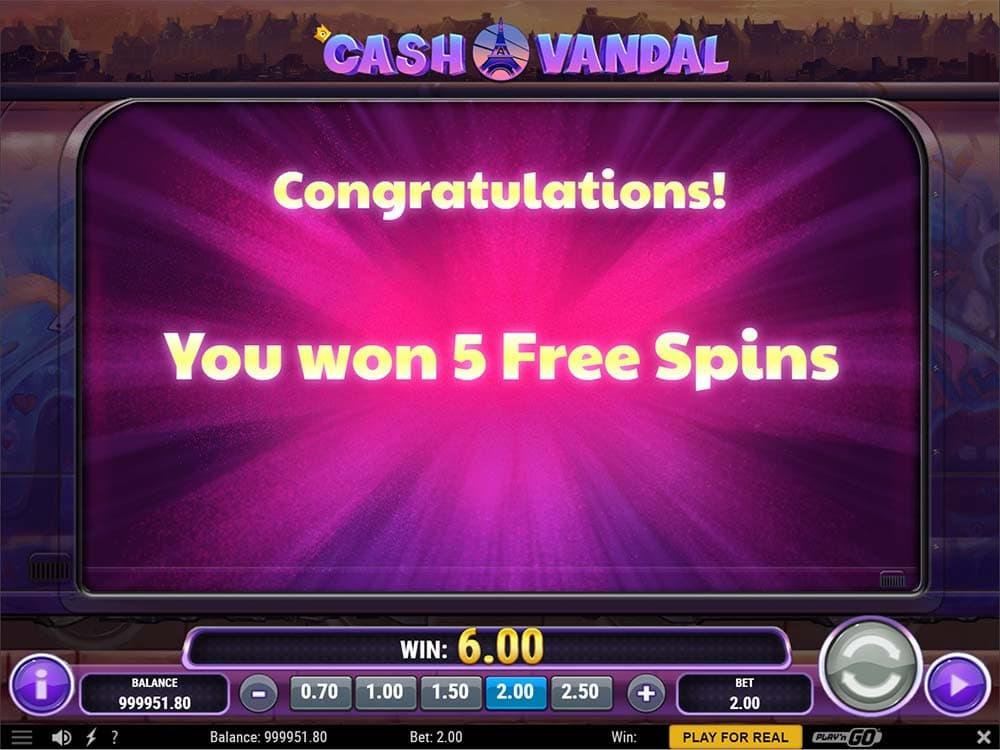 Cash Vandal Slot - 5 Free Spins Awarded