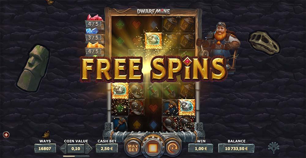 Dwarf Mine Slot - Free Spins Trigger