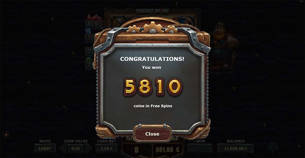 Dwarf Mine Slot - Free Spins Bonus End