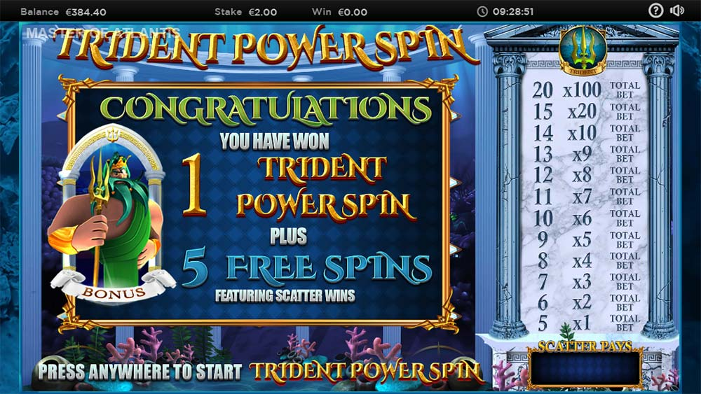 Master of Atlantis Slot - Main Bonus Triggered