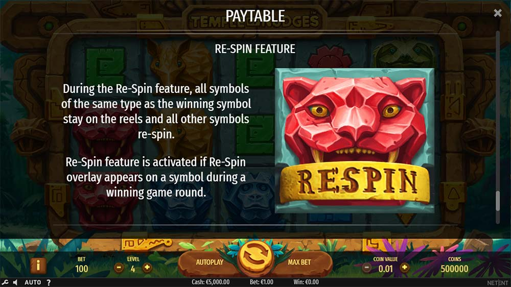 Temple of Nudges Slot - Respin Feature