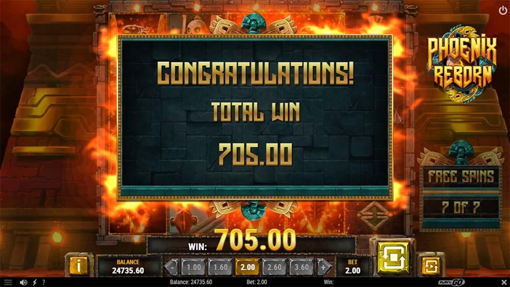 Phoenix Reborn Slot - Bonus End