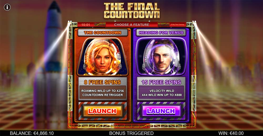 The Final Countdown Slot - Free Spins Selection