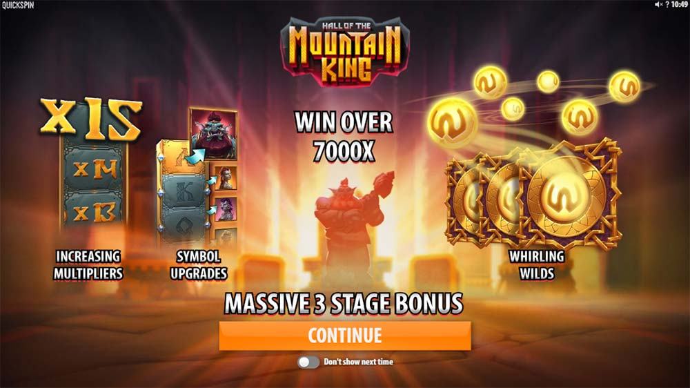 Hall of the Mountain King Slot - Intro Screen