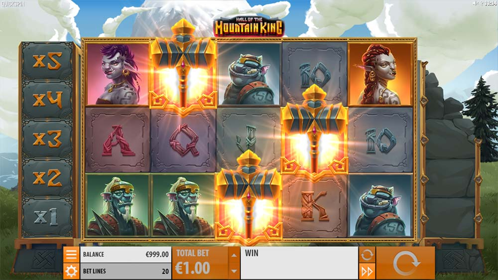 Hall of the Mountain King Slot - Free Spins Triggered