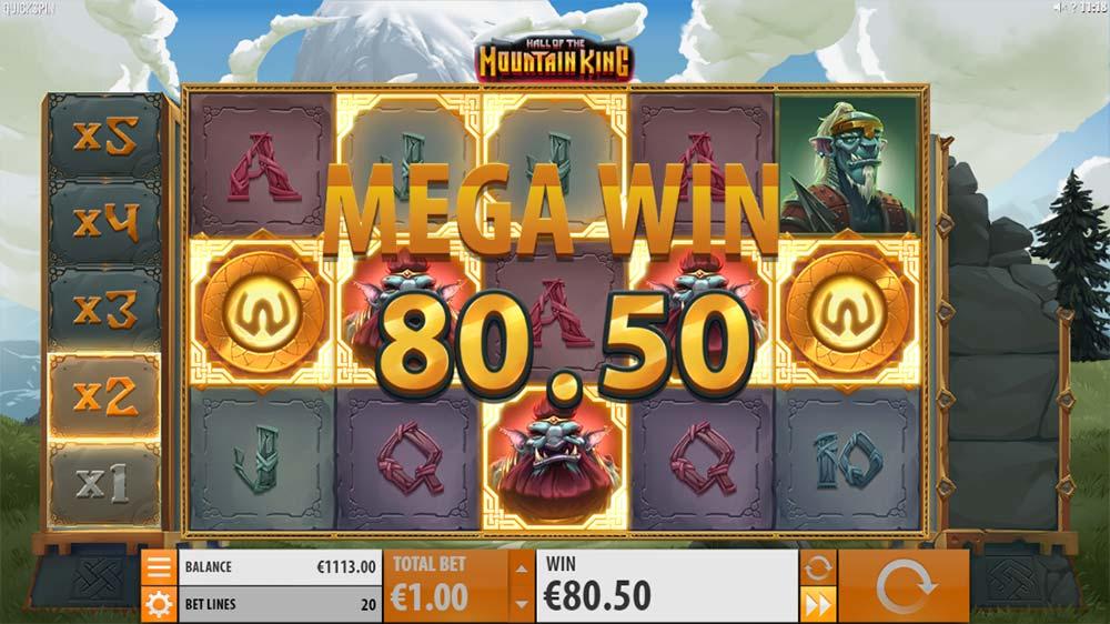 Hall of the Mountain King Slot - Mega Win Base Game