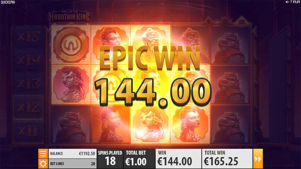 Hall of the Mountain King Slot - Epic Win During Bonus Round