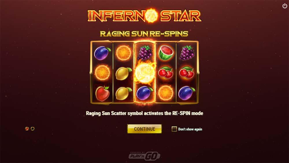 Inferno Star Slot - Intro Screen
