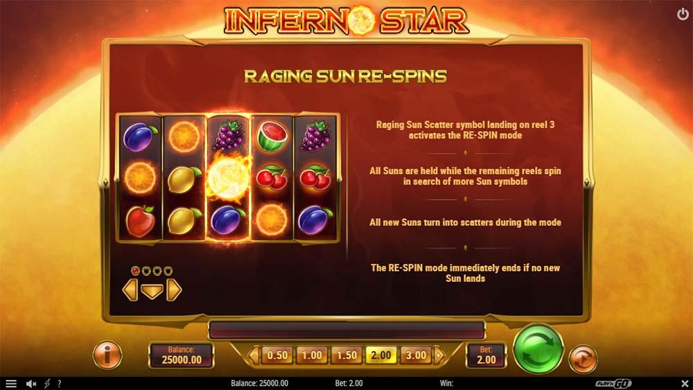Inferno Star - Raging Sun Re-Spins Mechanic