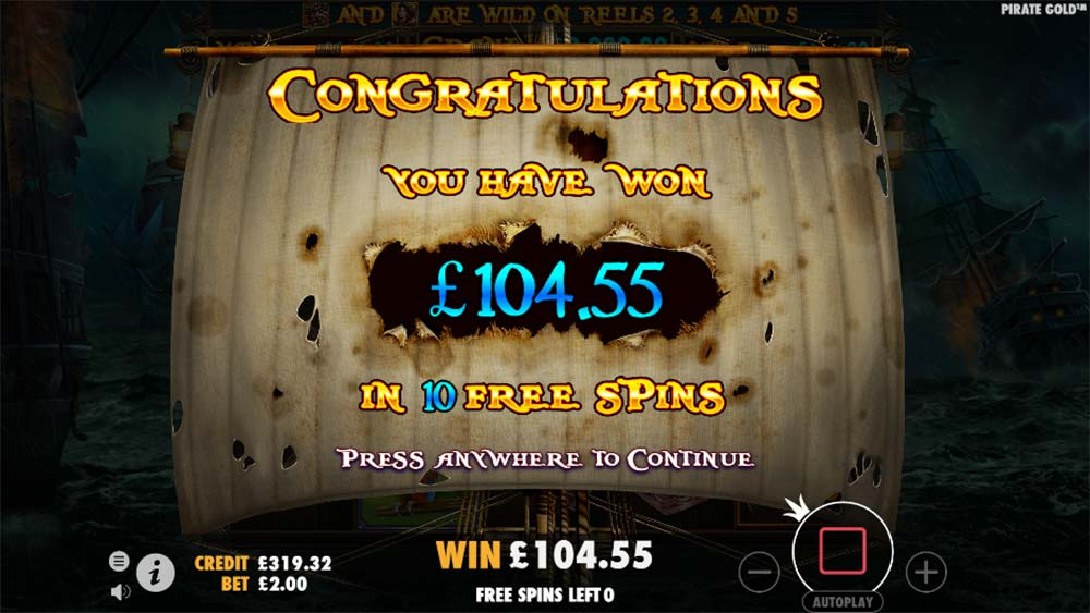 Pirate Gold Slot - Free Spins End