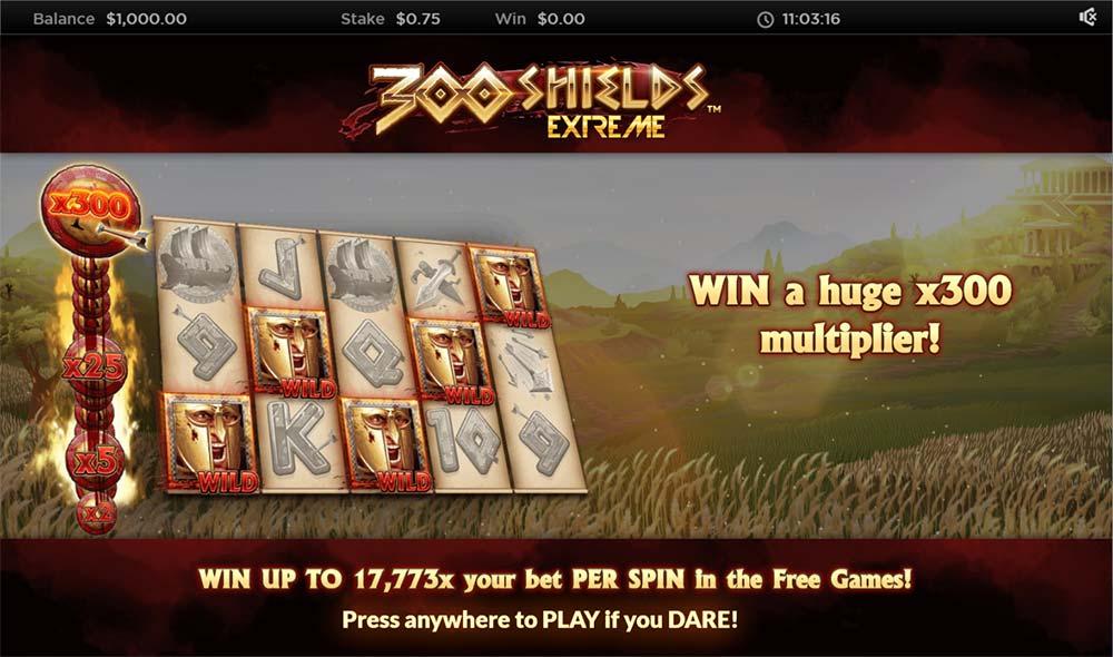 300 Shields Extreme Slot - Intro Screen