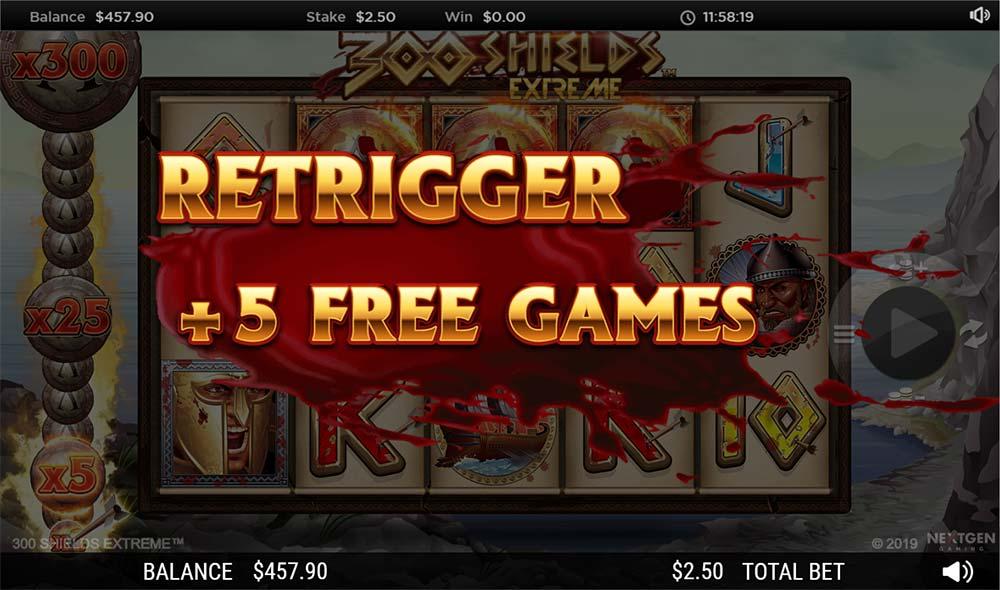 300 Shields Extreme Slot - Bonus Re-Trigger