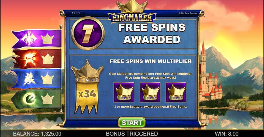 Kingmaker Slot - Bonus Start