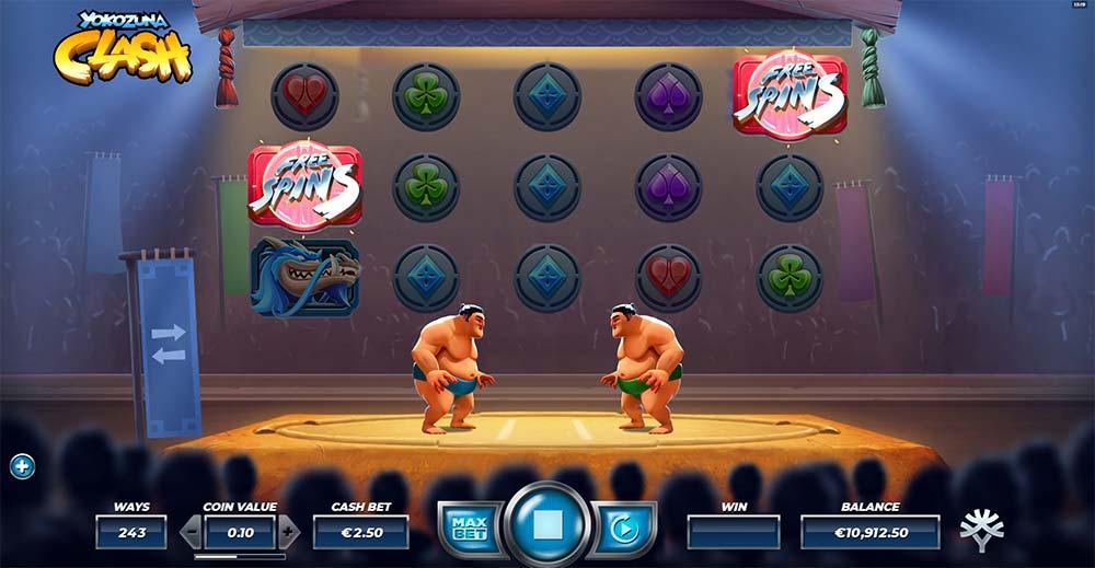 Yokozuna Clash Slot - Free Spins Triggered