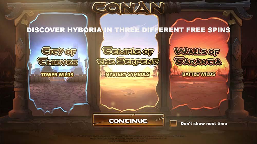 Conan Slot - Intro Screen
