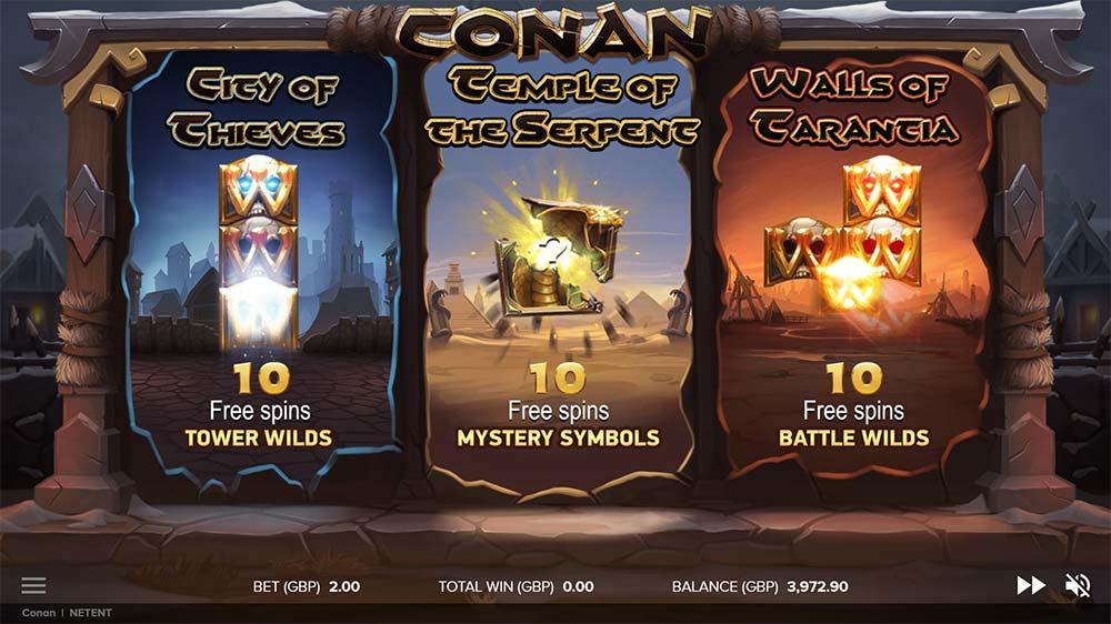 Conan Slot - Free Spins Selection