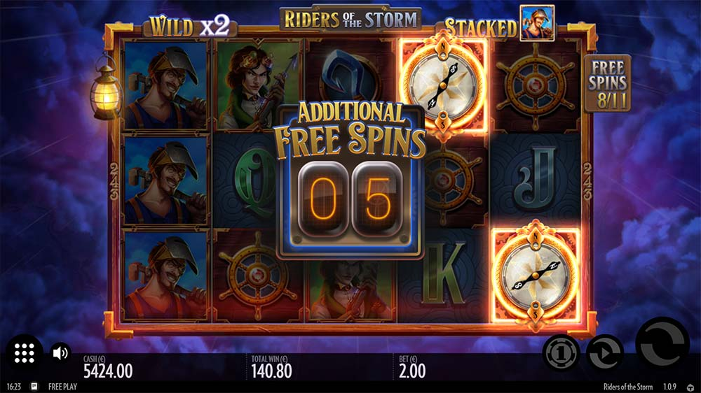 Riders of the Storm Slot - Free Spins Re-Trigger