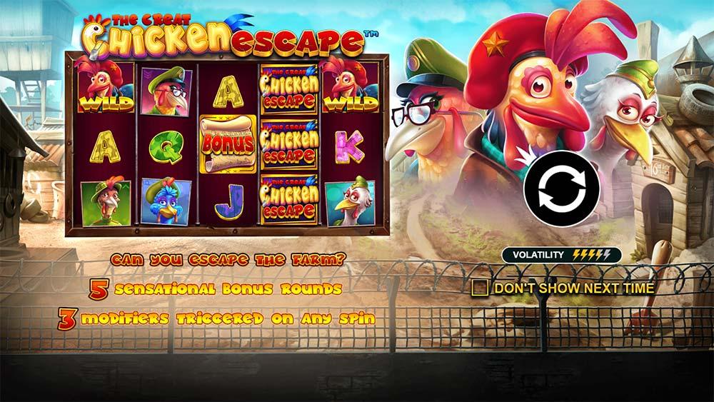 The Great Chicken Escape Slot - Intro Screen