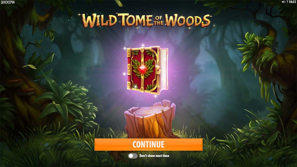 Wild Tome of the Woods Slot - Intro Screen