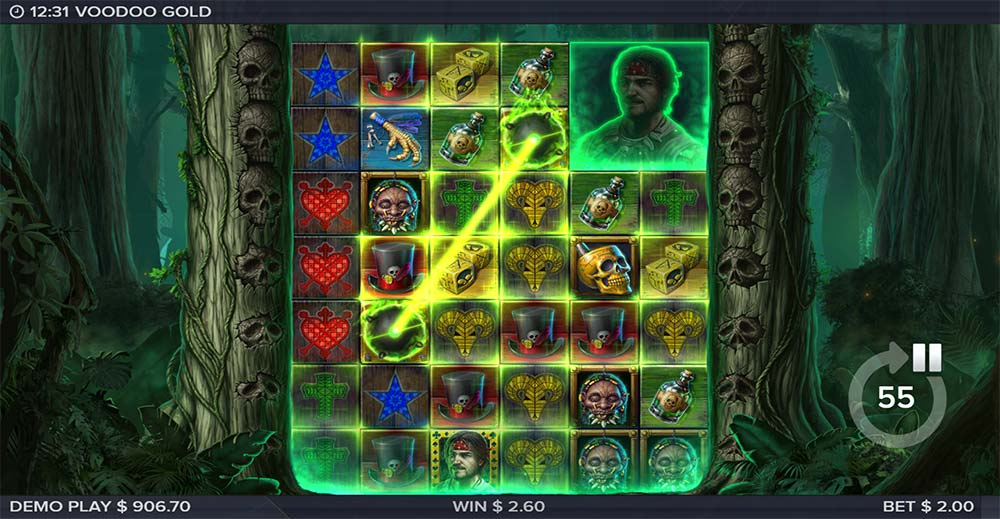 Voodoo Gold Slot - Bomb Scatter Feature