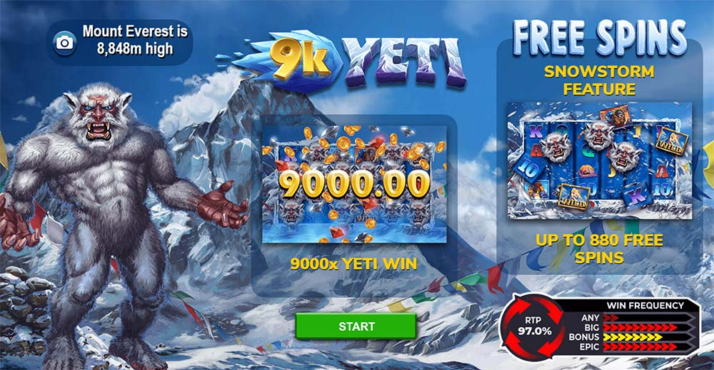 9K Yeti Slot - Intro Screen