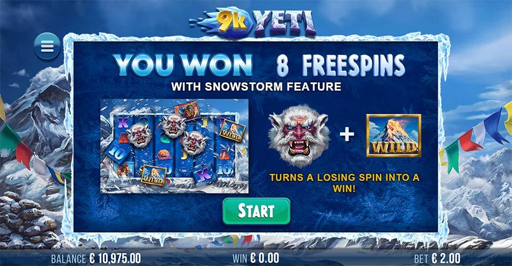 9K Yeti Slot - Free Spins Won