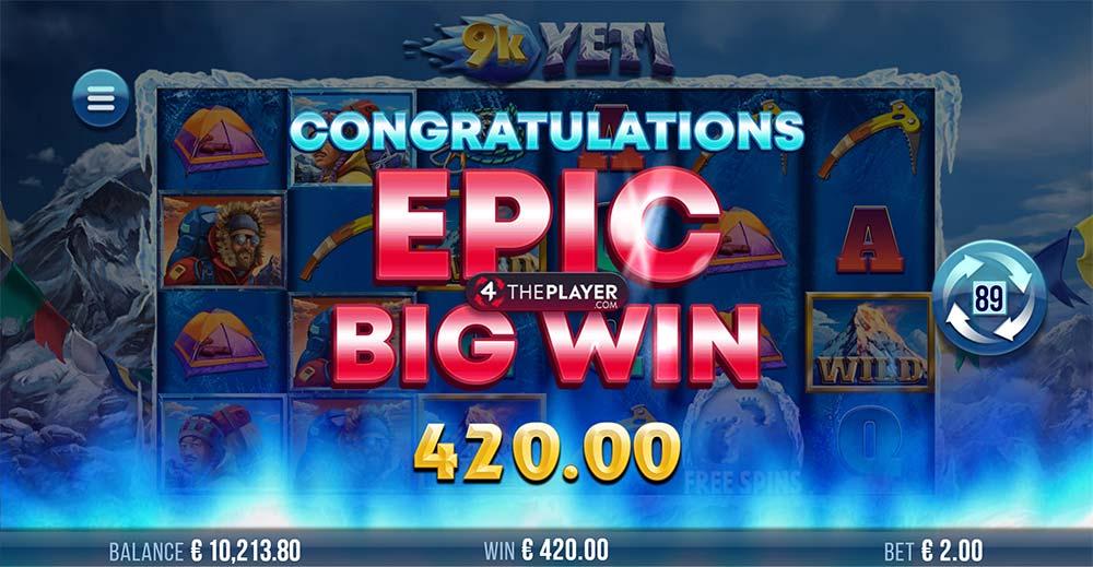 9K Yeti Slot - Bonus End / Epic Win