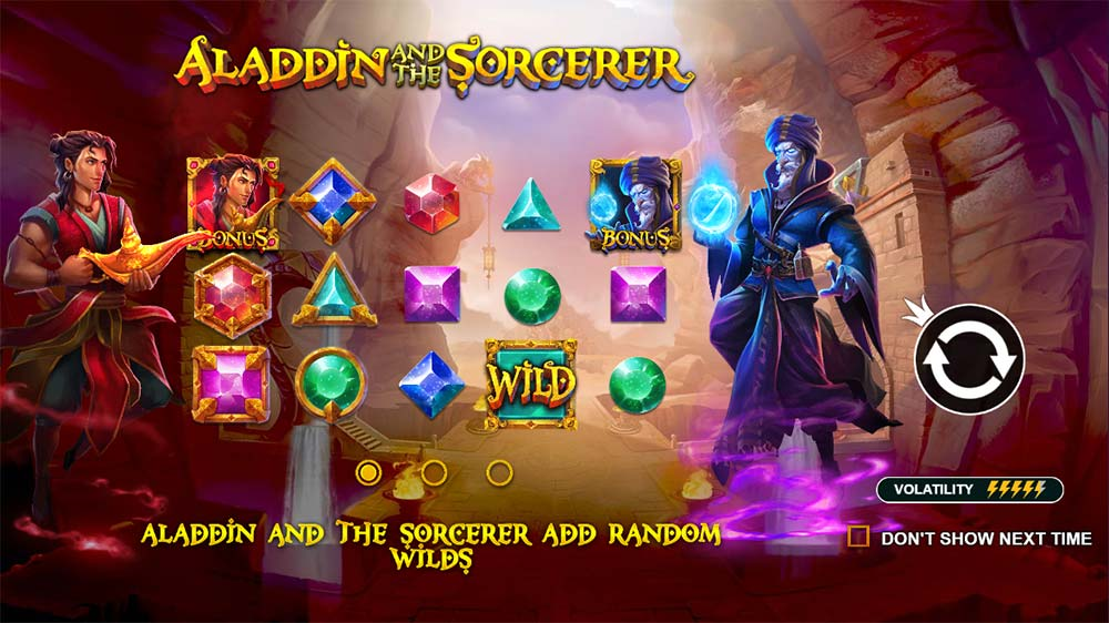Aladdin and the Sorcerer Slot - Intro Screen