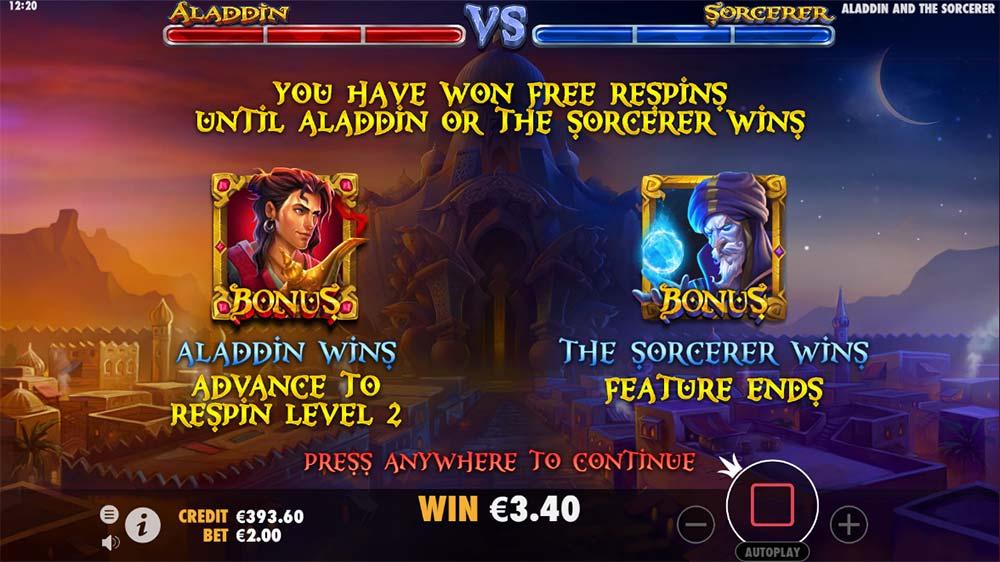 Aladdin and the Sorcerer Slot - Bonus Start