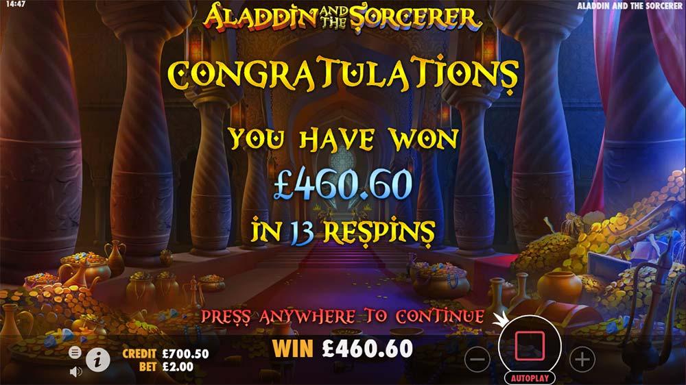 Aladdin and the Sorcerer Slot - Bonus End