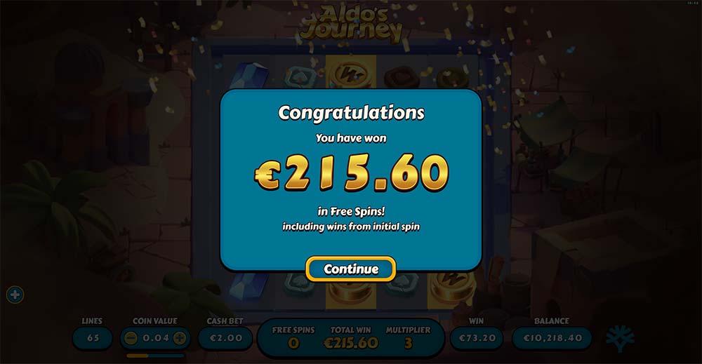 Aldo's Journey Slot - Bonus End