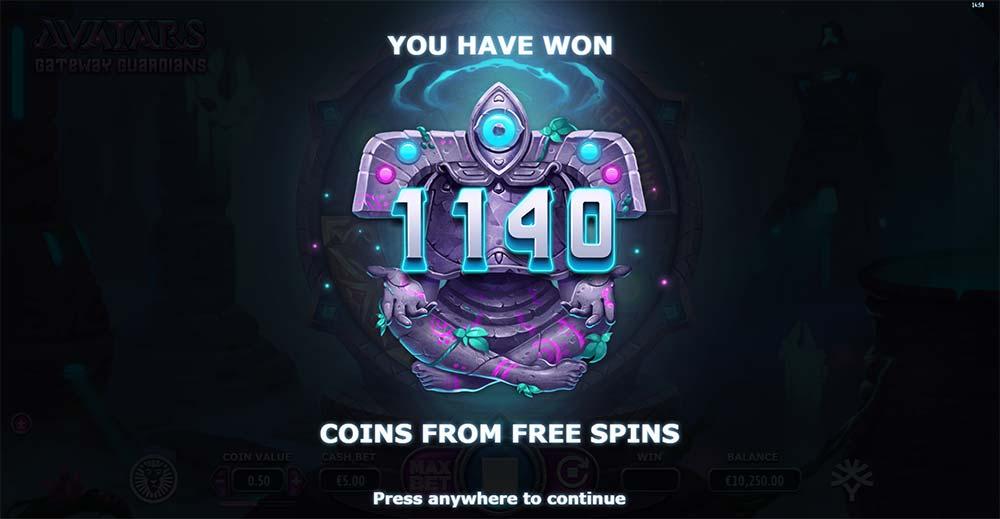Avatars Gateway Guardians Slot - Bonus End