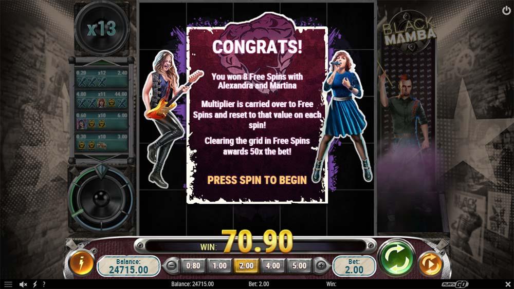 Black Mamba Slot - Free Spins Triggered