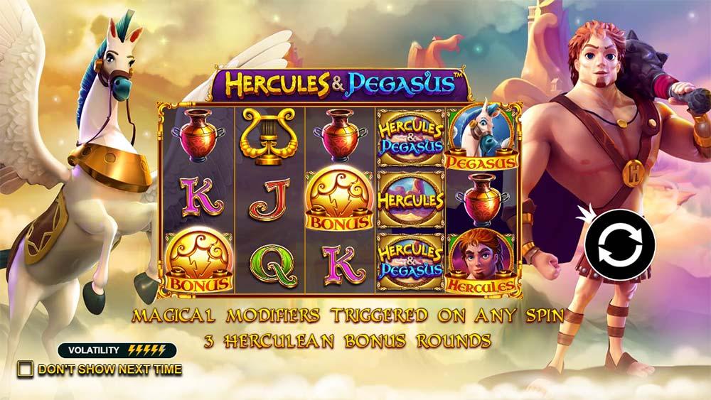 Hercules and Pegasus Slot - Intro Screen
