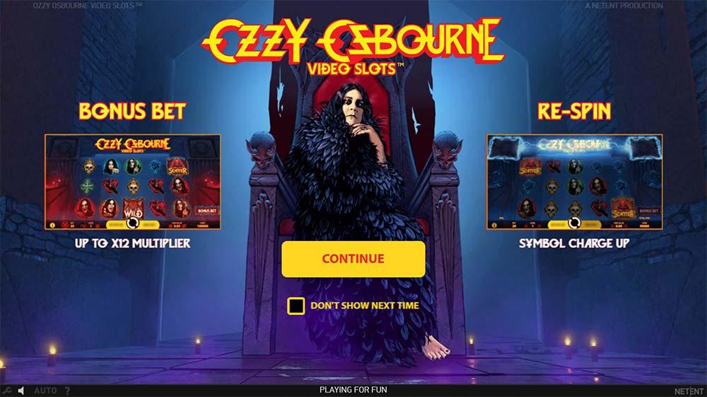 Ozzy Osbourne Video Slots - Intro Screen