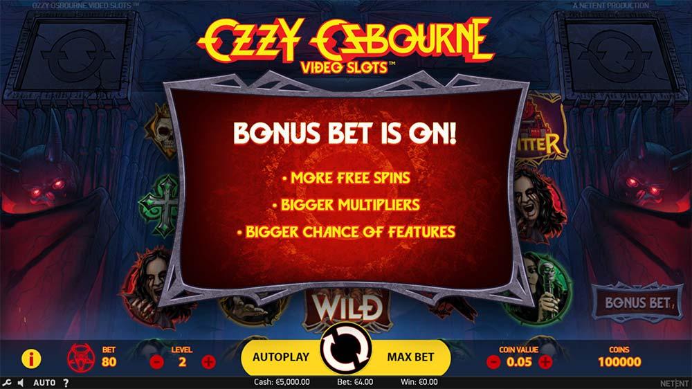 Ozzy Osbourne Video Slots - Bonus Bet Activated