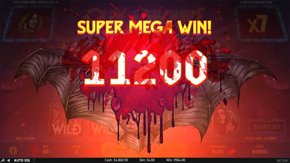 Ozzy Osbourne Video Slots - Super Mega Win