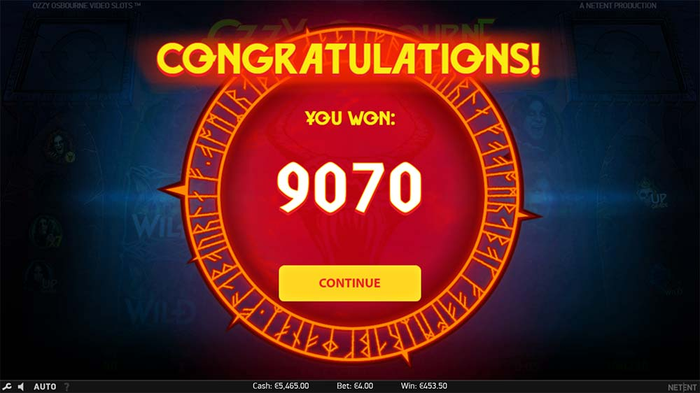 Ozzy Osbourne Video Slots - Bonus End