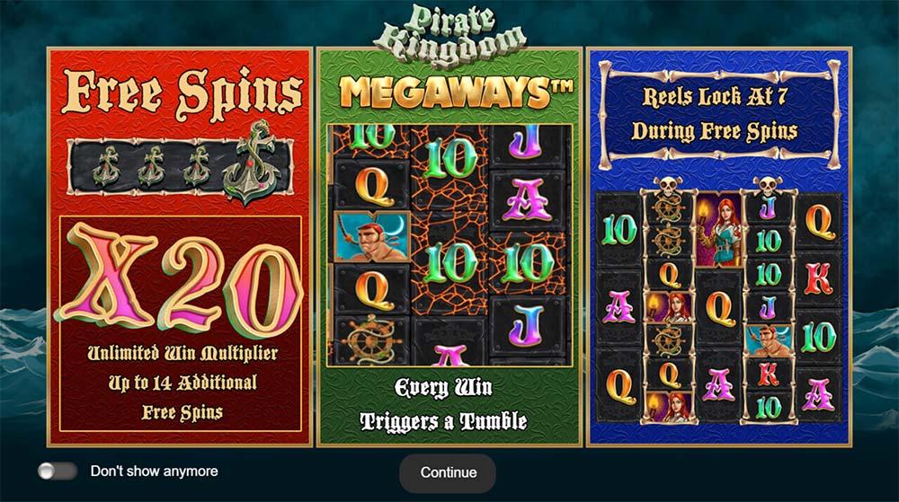 Pirate Kingdom Megaways Slot - Intro Screen