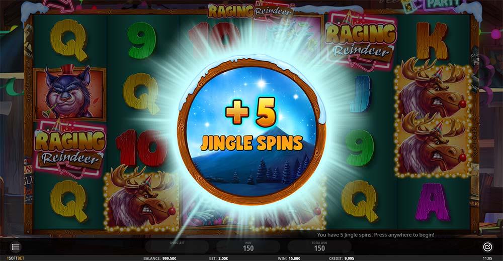 Raging Reindeer Slot - Free Spins Re-Trigger