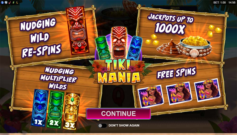 Tiki Mania Slot - Intro Screen