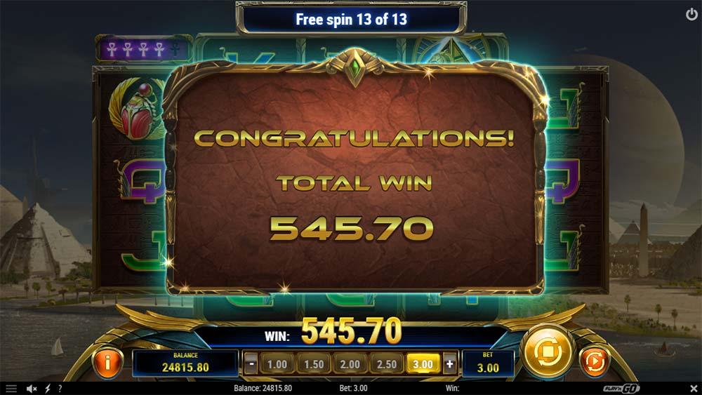 Ankh of Anubis Slot - Bonus End