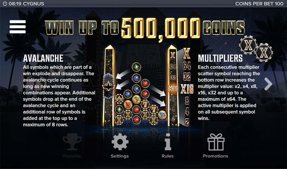 Cygnus Slot - Paytable