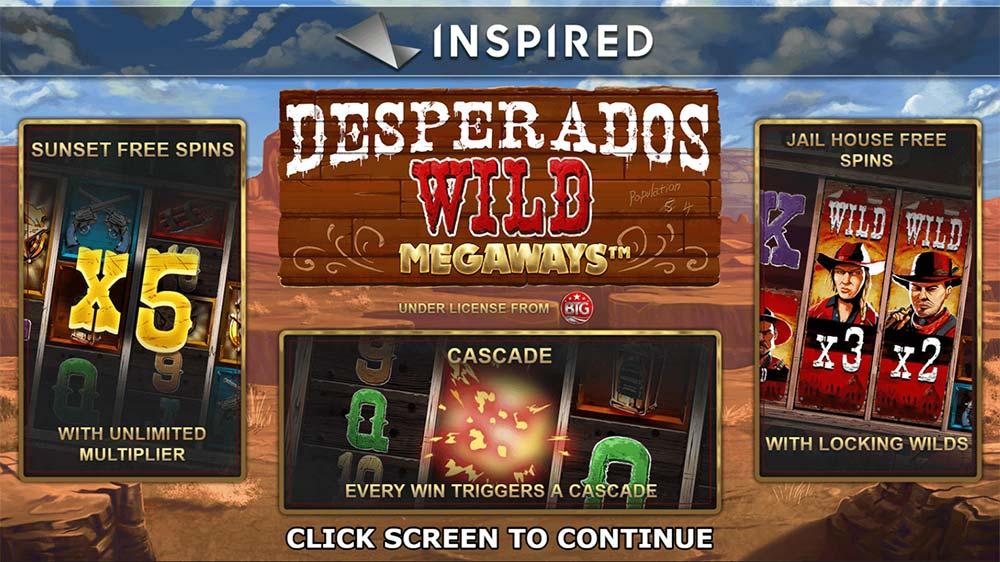 Desperados Wild Megaways Slot - Intro Screen