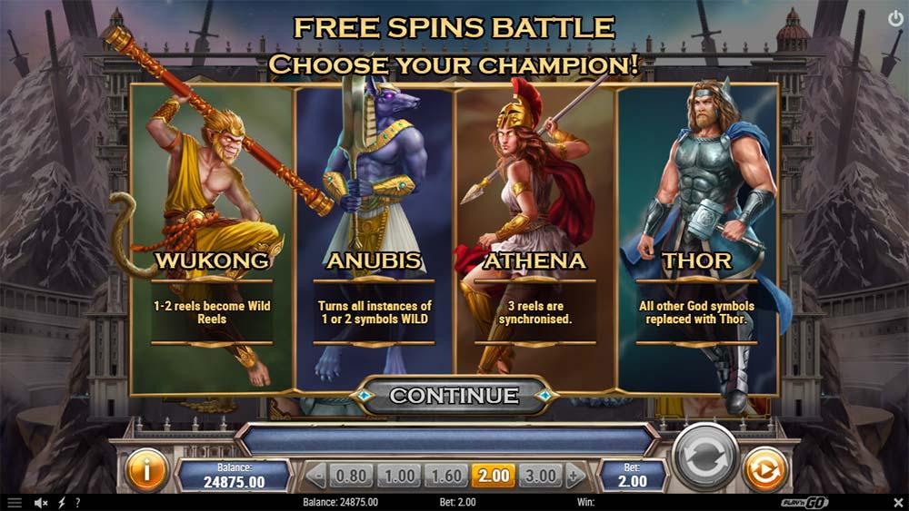 Divine Showdown Slot - Bonus Selection