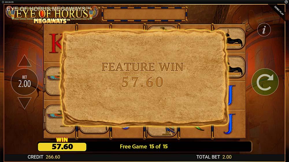 Eye of Horus Megaways Slot - Bonus End