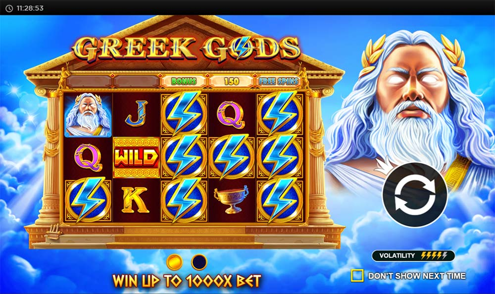 Greek Gods Slot - Intro Screen