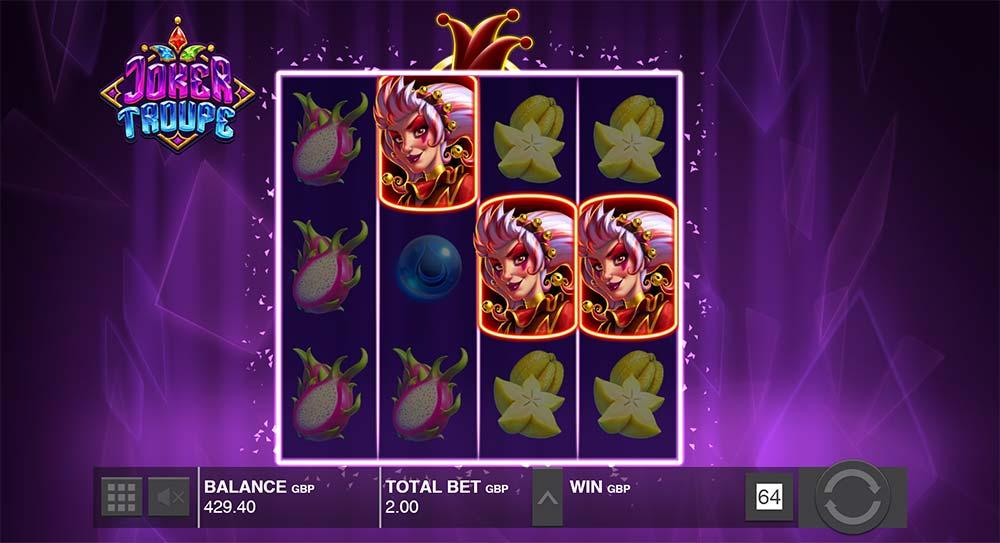 Joker Troupe Slot - Red Joker Freespins Triggered