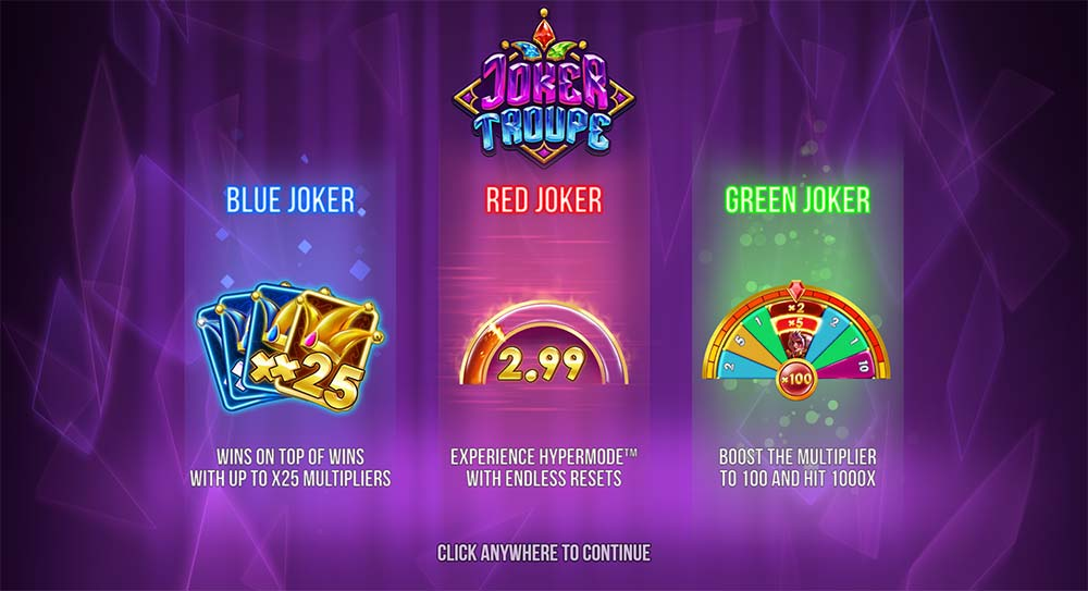 Joker Troupe Slot - Intro Screen