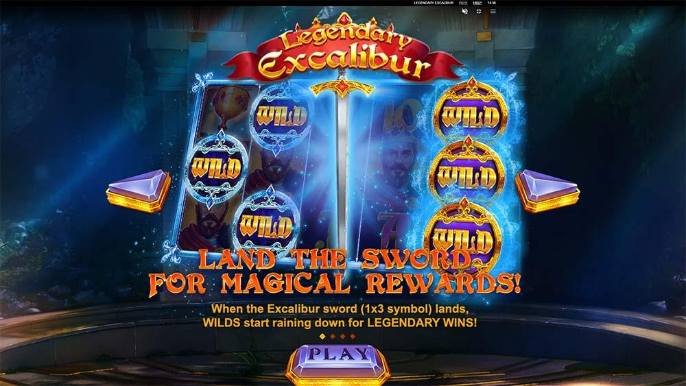 Legendary Excalibur Slot - Intro Screen
